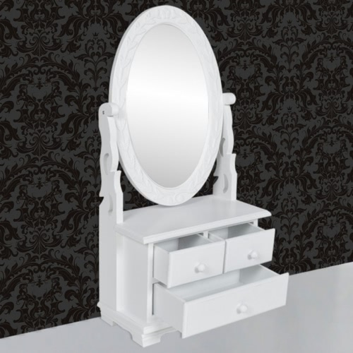 Vanity Makeup Table With Oval Swing MirrorHome &amp; Garden<br>Vanity Makeup Table With Oval Swing Mirror<br>