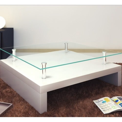 Glass coffee table square whiteHome &amp; Garden<br>Glass coffee table square white<br>
