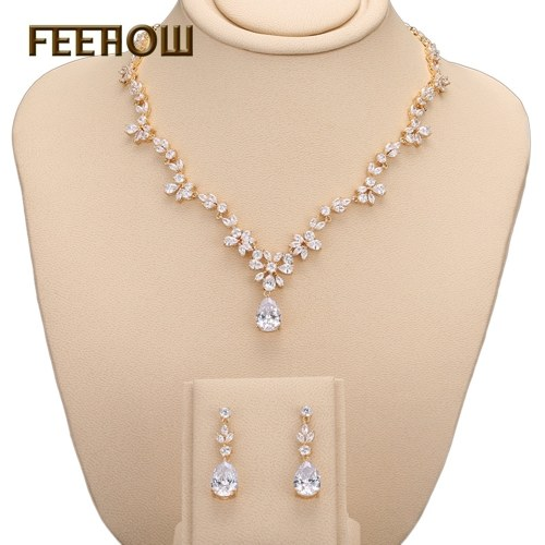 Korean AAA Zircon Necklace Earrings Set Chain Bridal Dinner Jewelry