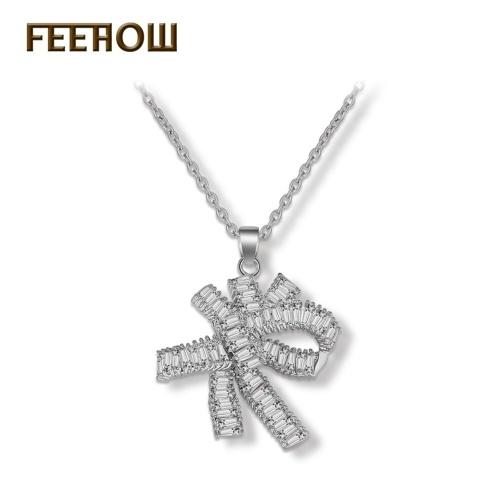 Collana in zircon di diamanti con fiocco arco dolce FEEHOW