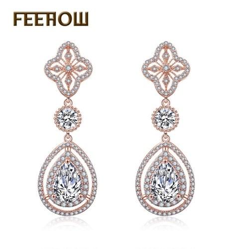 FEEHOW luxury zircon drop earrings