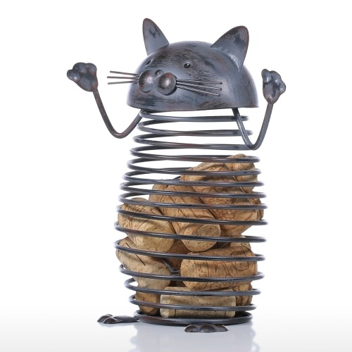 Spring Cat Cork Container Iron Sculpture Cat Figurine Creative Cork Container Practical Ornament Craft GiftHome &amp; Garden<br>Spring Cat Cork Container Iron Sculpture Cat Figurine Creative Cork Container Practical Ornament Craft Gift<br>