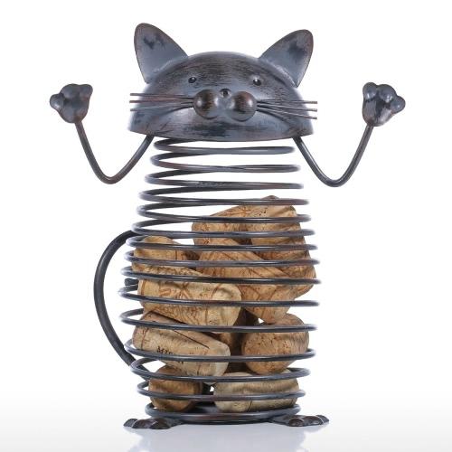 Весенняя кошка Корк Контейнер Железная скульптура Статуя кошки Креативный пробковый контейнер