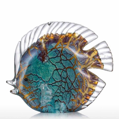 Toots de poissons tropicaux manchés colorés Tooarts Glass Sculpture Décoration intérieure Poisson