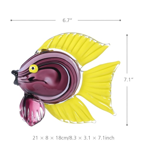 Tooarts Yellow Tropical Fish Glass Sculpture Home Decor Animal Ornament Gift Craft DecorationHome &amp; Garden<br>Tooarts Yellow Tropical Fish Glass Sculpture Home Decor Animal Ornament Gift Craft Decoration<br>
