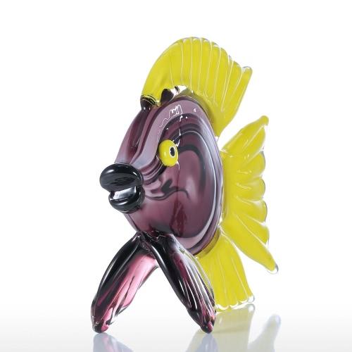 Tooartsイエロー熱帯魚ガラス彫刻家の装飾動物オーナメントギフトクラフトデコレーション