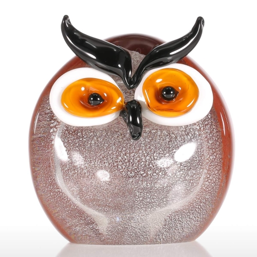 Tooarts Chubby Owl Glass Ornament動物の置物Handblown Home Decor