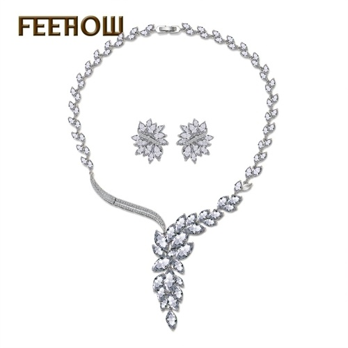 FEEHOW Ice Linghua Jewelry Set Set orecchini con zirconi AAA