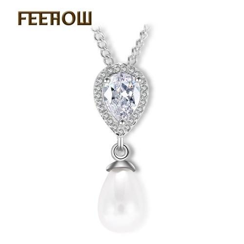 La versione coreana della perla intarsiato ciondola solo zirconi d'amore