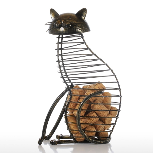 Tooarts Cat Wine Cork Container Home Decor Iron Craft Gift Handicraft Animal OrnamentHome &amp; Garden<br>Tooarts Cat Wine Cork Container Home Decor Iron Craft Gift Handicraft Animal Ornament<br>