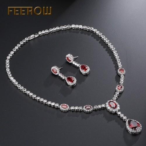 Collana di gioielli da sposa con zirconi e orecchini semplici