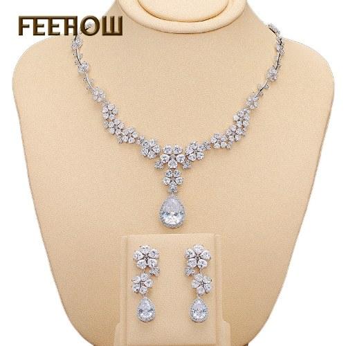 Nova AAA zircão high-end conjunto de jóias de moda brincos colar de noiva conjunto