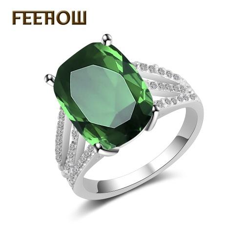 FEEHOW ساخنة جديدة جو أزياء خاتم الزمرد
