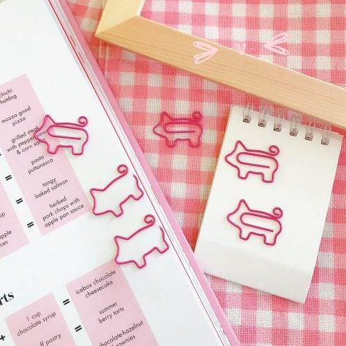 Dibujos animados pequeño lindo cerdo creativo clip de papel rollo cola cerdo marcadores marcador de papel