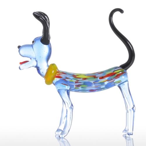 Tooartsロングイヤードッグギフトグラスオーナメント動物の置物手コキの家の装飾