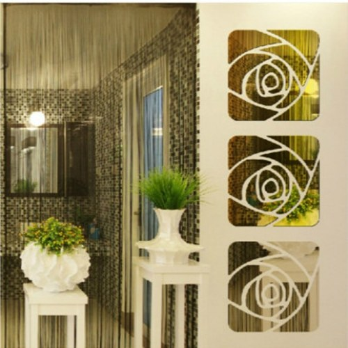 Hot rose mirror wall stickers