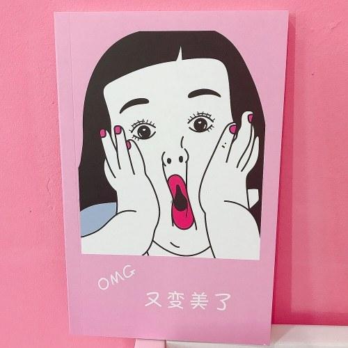 Chica coreana corazon rosa libreta