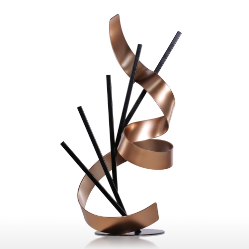 Tooarts Straight Line and Ribbon Modern Sculpture Metal Sculpture Iron Abstract Sculpture Home DecorHome &amp; Garden<br>Tooarts Straight Line and Ribbon Modern Sculpture Metal Sculpture Iron Abstract Sculpture Home Decor<br>