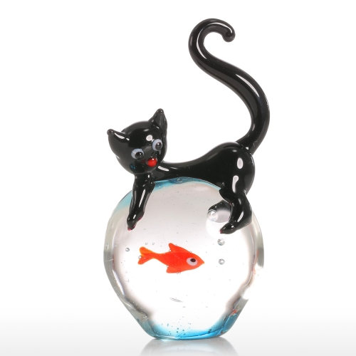 Tooarts Tooarts猫と金魚のギフトガラスの装飾動物の置物Handblown Home Decor