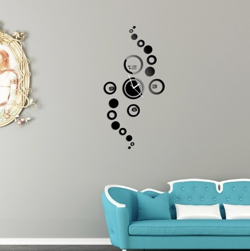 DIY الإبداعية دائرة ملصقات الحائط الرقمية على مدار الساعة