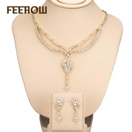 FEEHOW micro-intarsiato zircone set due pezzi vestito da sposa gioielli