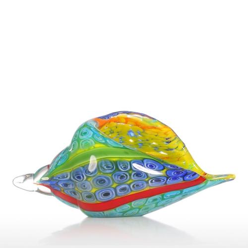 Tooarts Colorful Sea Shell Glass Ornament Animal Figurine Handblown Home Decor