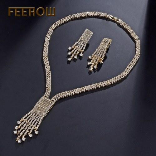nuovi set europei e americani di orecchini con catena in strass di lusso con zirconi di lusso
