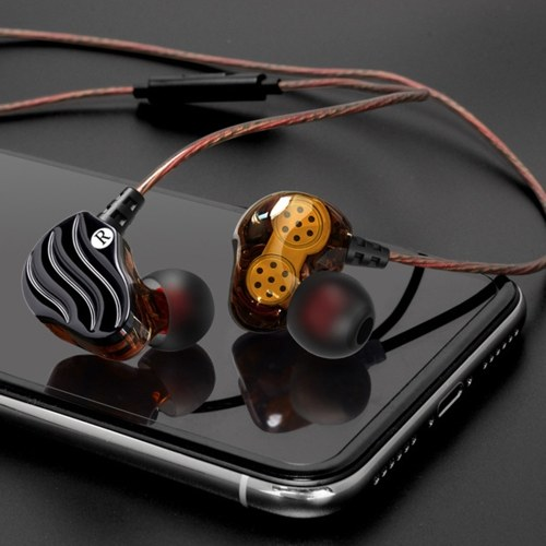 Double moving ring headset four unit in-ear with wheat ear anchor