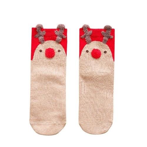 Meias de algodão vermelho meias de Natal tridimensional dos desenhos animados