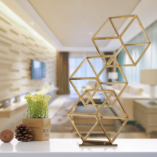 Tooarts Cube Abstract Ornament Electroplating Craft Stainless Steel Ornament Home DecorHome &amp; Garden<br>Tooarts Cube Abstract Ornament Electroplating Craft Stainless Steel Ornament Home Decor<br>