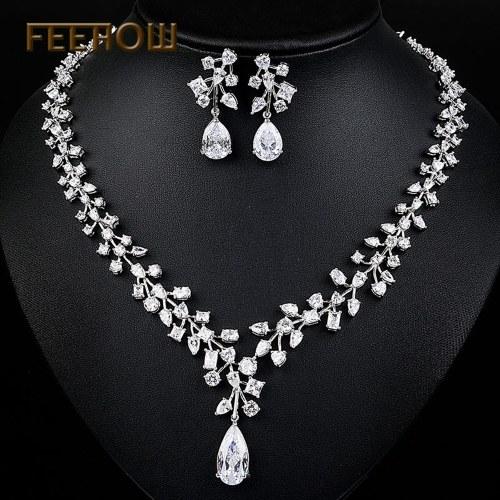 FEEHOW Set di gioielli di alta qualità in argento e in argento con zirconi AAA