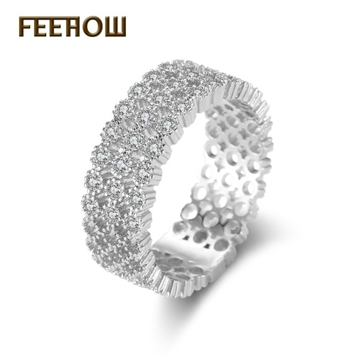 FEEHOW Jewelry Europe and America Full Diamond Ring