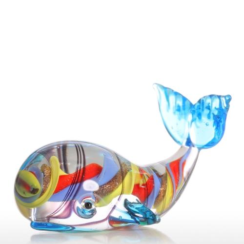 Tooartsカラフルなクジラギフトグラスオーナメント動物の置物Handblown Home Decor
