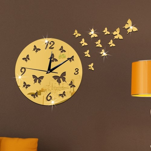 Creative Butterfly Personality Mirror Wall Clock Home Mirror Wall Sticker