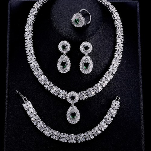 Set di due pezzi di collana di gioielli da sposa nuovi set