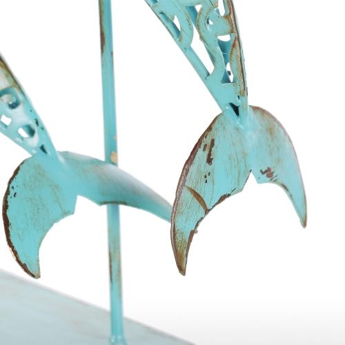 Two Blue Dolphins Iron Handmade Statue Design Statue Ornament Marine Life Retro EffectHome &amp; Garden<br>Two Blue Dolphins Iron Handmade Statue Design Statue Ornament Marine Life Retro Effect<br>