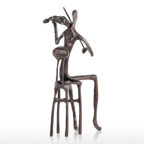 Violín que juega el funcionamiento moderno Escultura de bronce Escultura del metal Decoración casera Regalo del arte