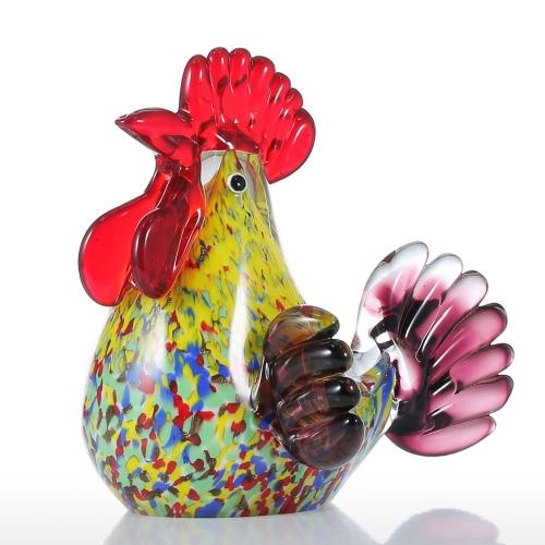 Sculpture Tooarts Multicolor Rooster verre Home Decor ornement animal cadeau Artisanat Décoration
