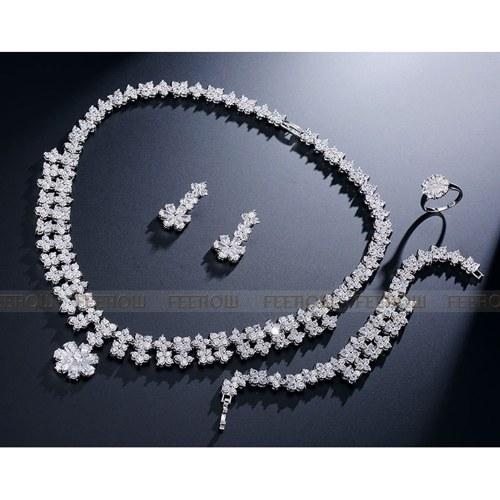 FEEHOW Bridal Jewelry Plum Blossoms Set di quattro pezzi
