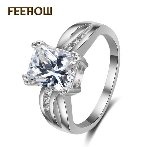 FEEHOW الكلاسيكية الزركون خاتم الماس الإناث