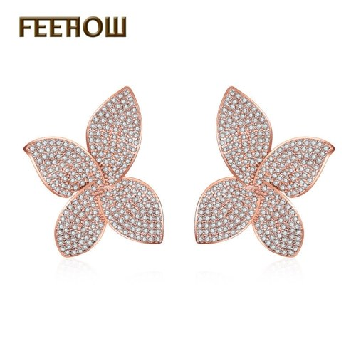 FEEHOW foreign trade hot selling European and American style four-leaf clover earrings