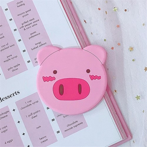 Espejo de mano de cerdo de cerdo de niña de corazón rosa