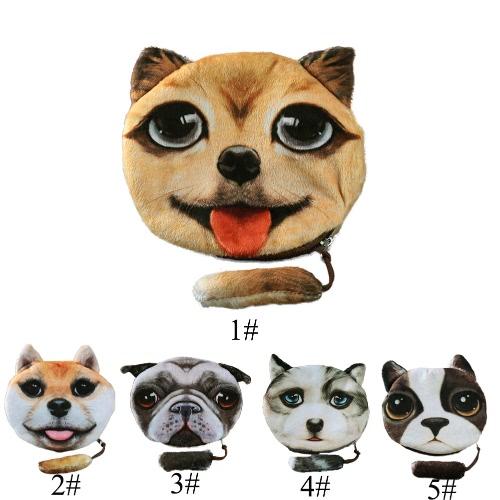 New Cute Women Coin Purse Dog Face Animal Head Cartoon Print Zipper Closure Mini Wallet Small Clutch BagApparel &amp; Jewelry<br>New Cute Women Coin Purse Dog Face Animal Head Cartoon Print Zipper Closure Mini Wallet Small Clutch Bag<br>