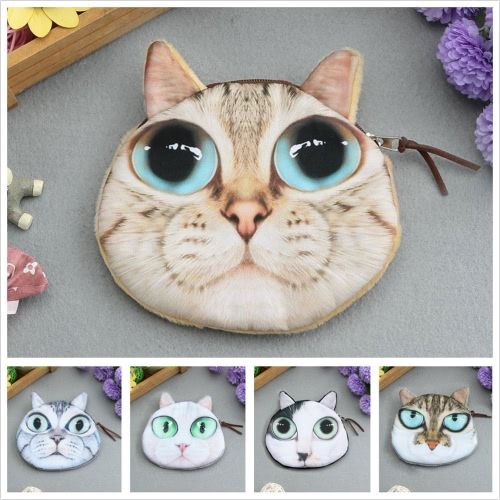 Cute Fashion Women Mini Coin Purse Wallet Cat Animal Head Print Zipper Closure Small Clutch BagApparel &amp; Jewelry<br>Cute Fashion Women Mini Coin Purse Wallet Cat Animal Head Print Zipper Closure Small Clutch Bag<br>