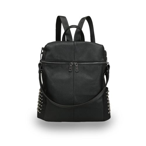 Fashion Women Backpack PU Leather Zipper Adjustable Strap Solid Causal OL Shoulder Bag Handbag BlackApparel &amp; Jewelry<br>Fashion Women Backpack PU Leather Zipper Adjustable Strap Solid Causal OL Shoulder Bag Handbag Black<br>