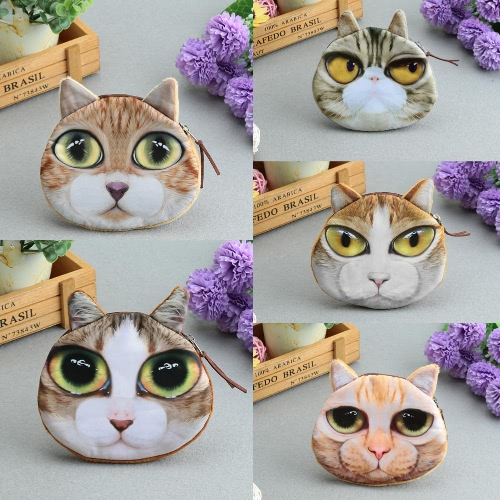 Women Cute Cat Coin Purse Mini Animal Print Wallet Plush Zipper Case Coin Pouch BagApparel &amp; Jewelry<br>Women Cute Cat Coin Purse Mini Animal Print Wallet Plush Zipper Case Coin Pouch Bag<br>