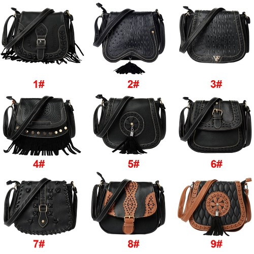 New Women PU Crossbody Bag Tassel Hollow Out Cover Zipper Casual Vintage Small Shoulder Bags BlackApparel &amp; Jewelry<br>New Women PU Crossbody Bag Tassel Hollow Out Cover Zipper Casual Vintage Small Shoulder Bags Black<br>