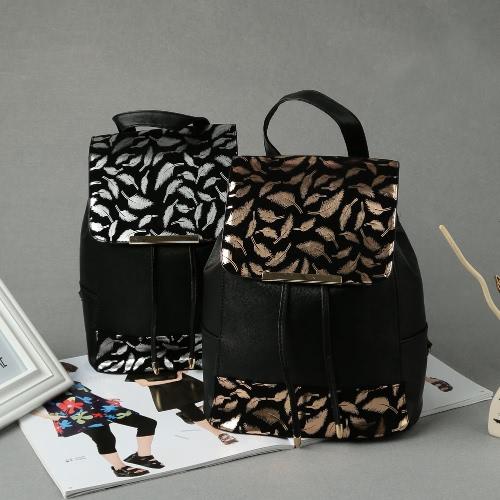 New Fashion Women Mini Bag Feather Pattern Splice Small Bag Traveling Backpack Black1/Black2Apparel &amp; Jewelry<br>New Fashion Women Mini Bag Feather Pattern Splice Small Bag Traveling Backpack Black1/Black2<br>