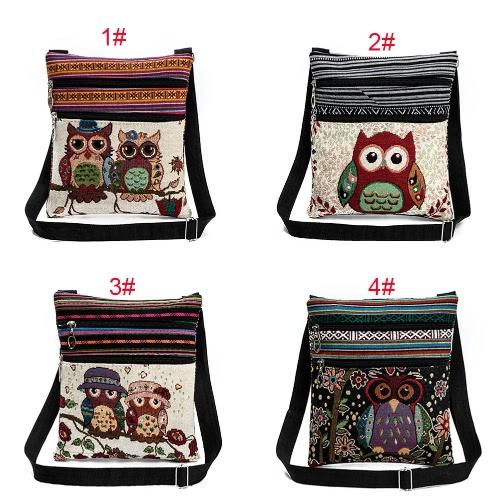 Women Mini Crossbody Bag Owl Embroidery Jacquard Zipper Adjustable Strap Light Messenger Travel Outdoor Shoulder Bag