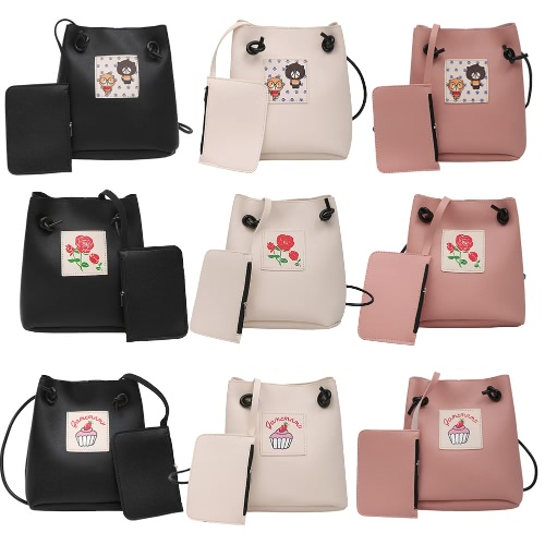 Women Girls Crossbody Bags Soft PU Leather Cute Print Casual Small Shoulder Messenger Bag Two Piece SetApparel &amp; Jewelry<br>Women Girls Crossbody Bags Soft PU Leather Cute Print Casual Small Shoulder Messenger Bag Two Piece Set<br>